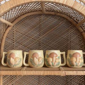 (4) vintage mushroom mugs